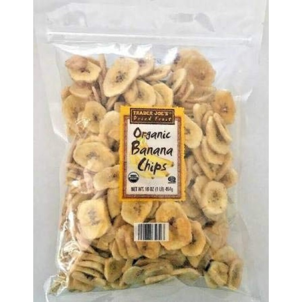 2 Pack of Trader Joes Dried Fruit Organic Banana Chips 16-oz Bags