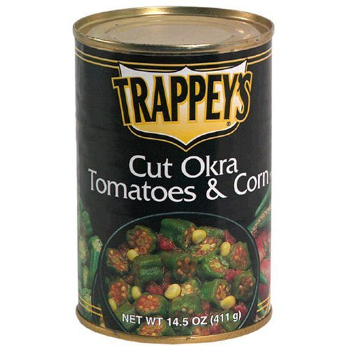 Trappeys Cut Okra Tomatoes & Corn, 14.5oz Cans Pack of 6