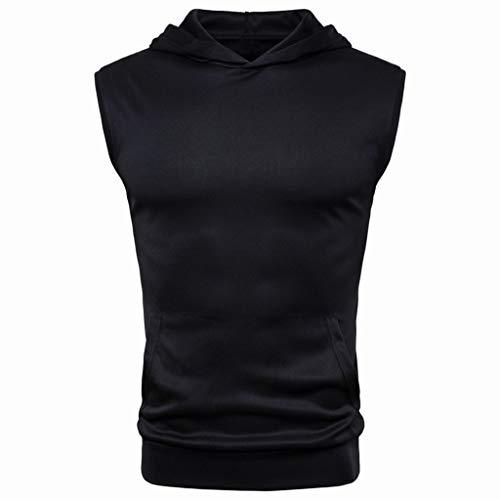 Mens Summer Vest,Tronet Mens Summer Casual Solid Hooded Sleevel...