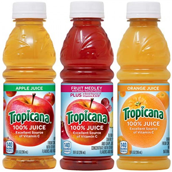 Tropicana 100% Juice 3-flavor Classic Variety Pack, 10 Ounce Bot...
