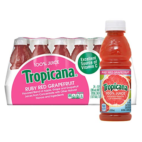 Tropicana Ruby Red Grapefruit Juice, 10 Ounce Pack of 24
