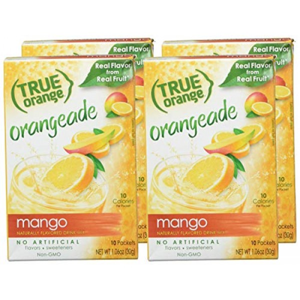 True Orange, Mango Orange Drink Mix, 10-count Pack of 4