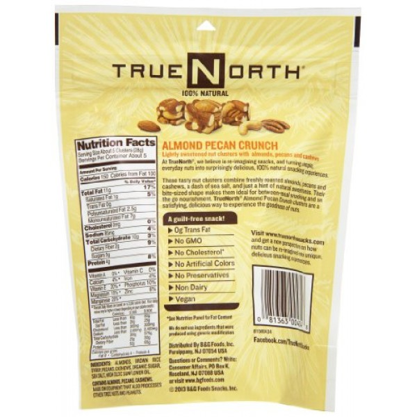 TrueNorth Nut Clusters, Almond Pecan Crunch, 5 Ounce Pack of 12