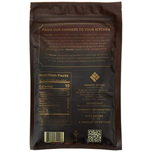 TSpices Premium Whole Black Peppercorns | Grinder Refill | 8oz |...
