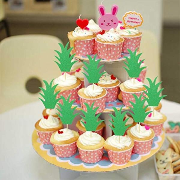 24Pcs Pineapple Cupcake Toppers Glitter Green Pineapple Donut Pi...