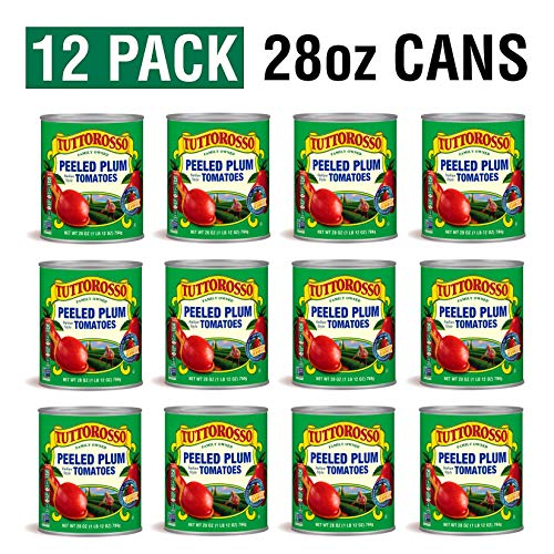 Tuttorosso Peeled Plum Tomatoes, 28oz Can Pack of 12