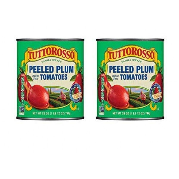 Tuttorosso Delicious Peeled Plum Canned Tomatoes, 28oz Cans Pac...