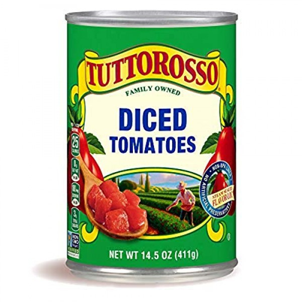 Tuttorosso Diced Canned Tomatoes, 14.5oz Can Pack of 6