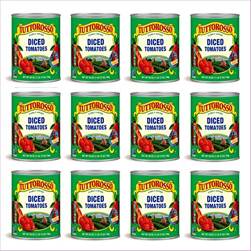 Tuttorosso Diced Tomatoes, 28oz Can Pack of 12