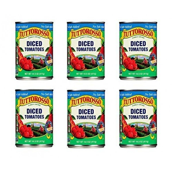 Tuttorosso No Salt Added Diced Canned Tomatoes, 14.5oz Can Pack...