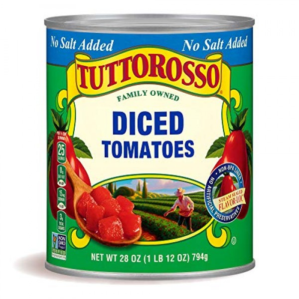 Tuttorosso No Salt Added Diced Tomatoes, 28oz Can Pack of 12