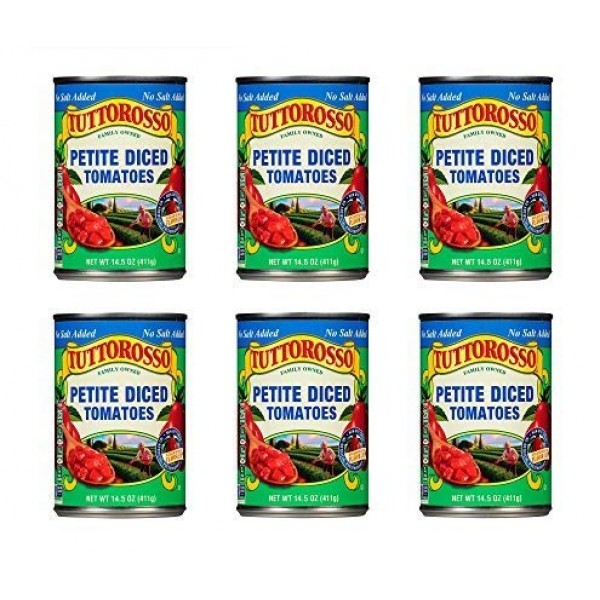 Tuttorosso   No Salt Added Petite Diced Canned Tomatoes   14.5oz...
