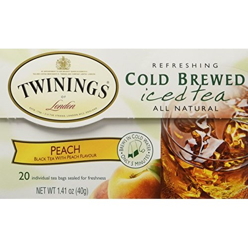 Twinings Peach Cold Brewed Iced Tea, 20 Count Box Pack of 2