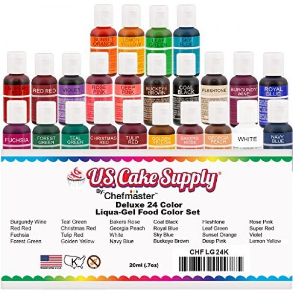 24 Color Cake Food Coloring Liqua-Gel Decorating Baking Primary ...