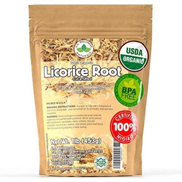 Licorice Root Tea 1LB 16Oz 100% Certified Organic Licorice Roo...