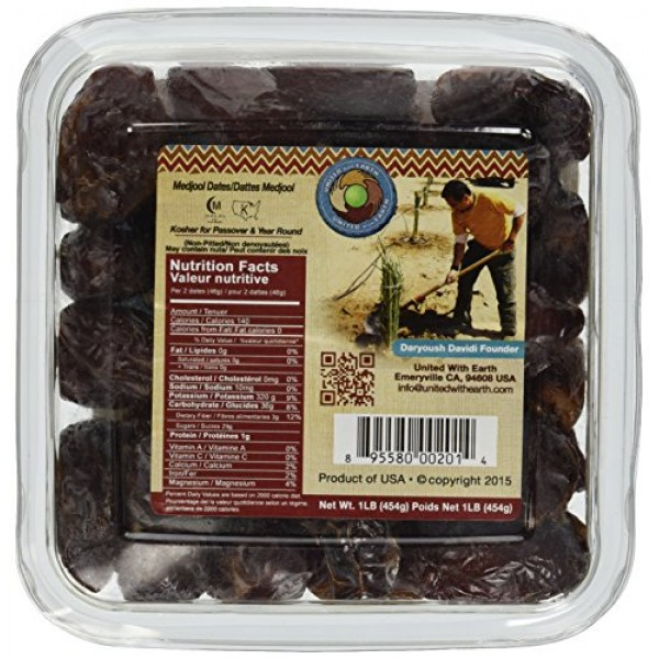 United With Earth Medjool Dates, 16-Ounce Containers Pack of 4