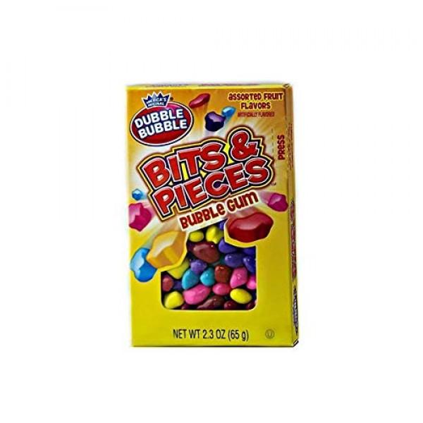 Dubble Bubble Bits & Pieces Bubble Gum, 24 Pack of 2.3oz Boxes