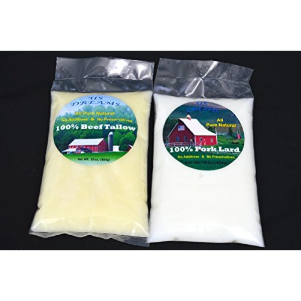 100% Grass Fed Beef Tallow and Pork Lard combination of 2 lb. 3...