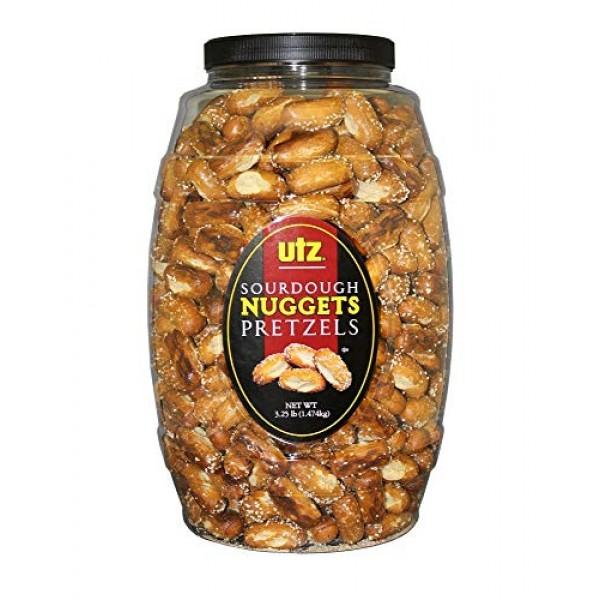 Utz Sourdough Nuggets Pretzels – 52 oz. Barrel – Bite-Size Pretz...