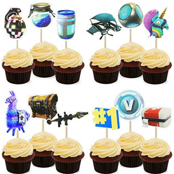Video Game Party Cupcake Toppers Supplies- 24pcs Cupcake toppers...