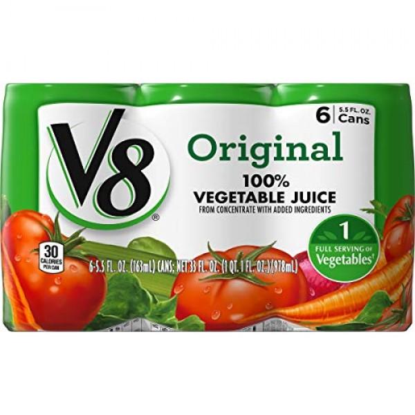 V8 Original 100% Vegetable Juice, 5.5 oz. Can 8 packs of 6, Tot...