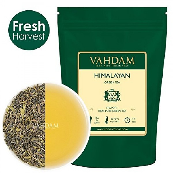VAHDAM, Green Tea Leaves from Himalayas 50 Cups, 100% Natural ...