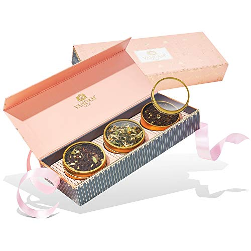 VAHDAM, Assorted Tea Gift Set - BLUSH, 3 Teas in a Tea Sampler G...