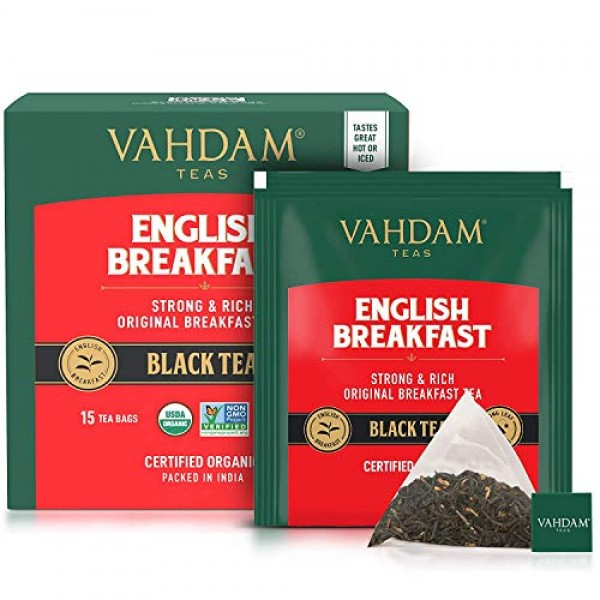 VAHDAM, English Breakfast Tea 30 Pyramid Tea Bags  HIGH ENERGY...