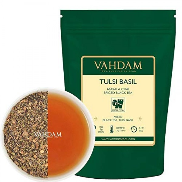 VAHDAM, Tulsi Basil Masala Chai Tea 50 Cups | Holy Basil Tea ...