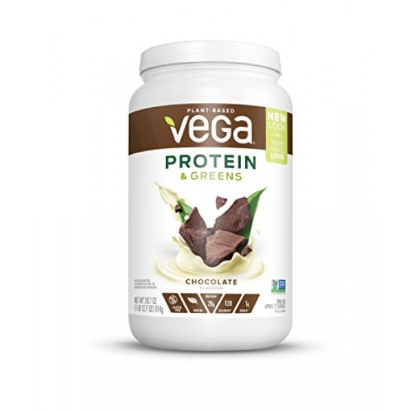 Vega Protein & Greens Chocolate 25 Servings, 28.7 Ounce - Plan...
