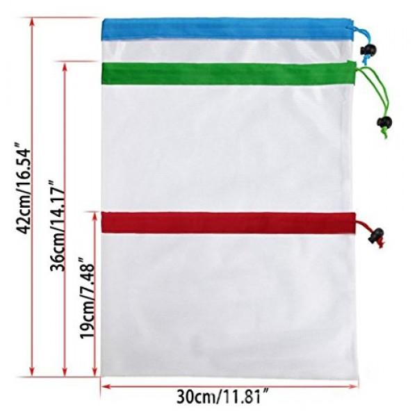 Vibola Reusable Mesh Produce Bags, Set of 16| Lightweight Drawst...
