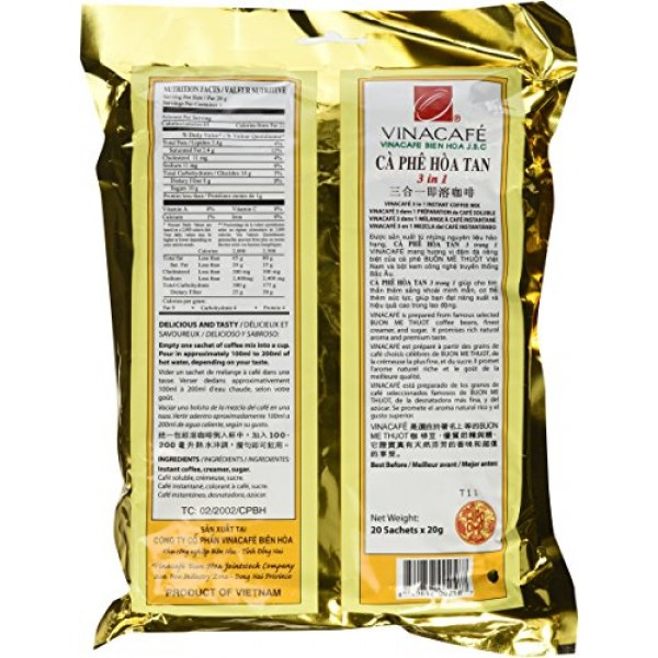 Vinacafe Instant Coffee Mix, 1-Pounds Pack of 5