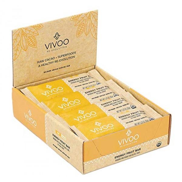 VIVOO Organic Raw Energy Baobab and Dark Chocolate Chips Bars  N...