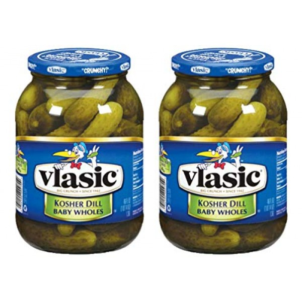 Vlasic Baby Kosher Dill Wholes Pickles, 46 OZ Jar Pack of 2, To...