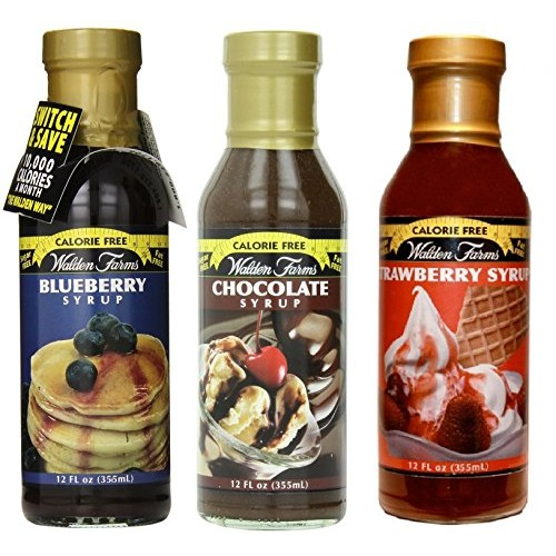 Walden Farms Chocolate, Blueberry, Strawberry Syrup Variety 3 Pack