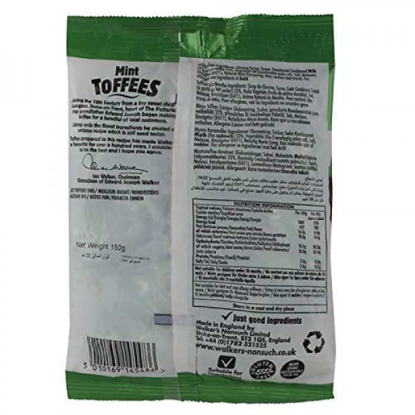 Walkers Nonsuch Mint Toffees 150g Bag New