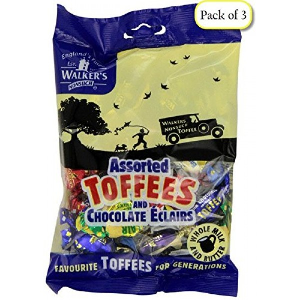 Walkers Assorted Toffees & Chocolate Eclairs, 5.29-Ounce Bags P...