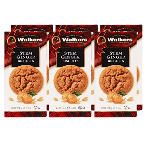 Walkers Shortbread Stem Ginger Scottish Cookies, 5.3 Ounce Box ...