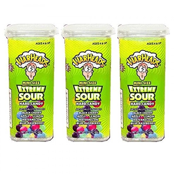 Warheads Extreme Sour Hard Candy Mini Size Flip Open Top - Pack ...
