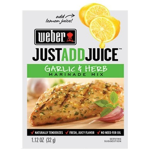 Weber Just Add Juice Marinade Mix, Garlic and Herb 1.12 Ounce P...