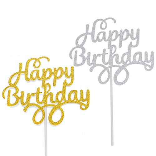 WEFOO 12 Pack Gold and Silver Happy Birthday Cake Topper Birthda...