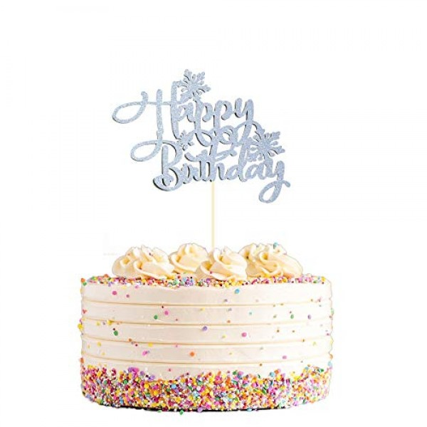 Snowflake Happy Birthday Cake Topper, Frozen Birthday Cake Toppe...