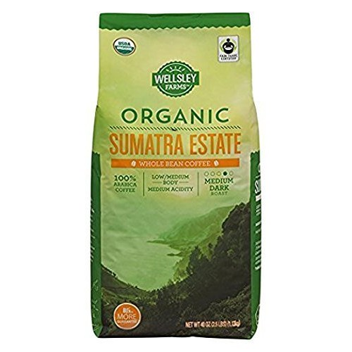 Wellsley Farms Organic Sumatra Estate Whole Bean Coffee, 40 oz.