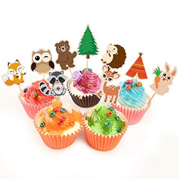 WERNNSAI Woodland Creatures Cupcake Toppers - 45 PCS Cute Forest...