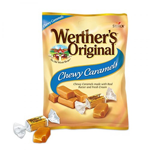 WERTHERS ORIGINAL Chewy Caramels, 5.0 Ounce Bags Pack of 12, ...