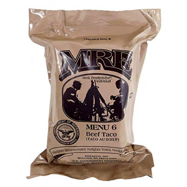 Beef Taco MRE Meal - Genuine US Military Surplus Inspection Date...