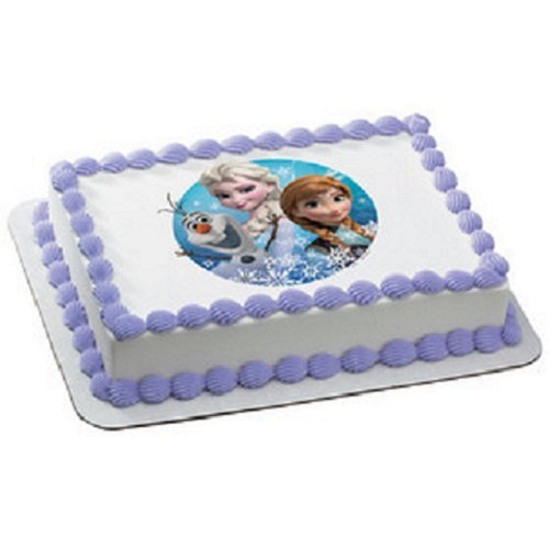 Frozen Olaf, Anna, and Elsa Edible Icing Image Cake Decoration T...