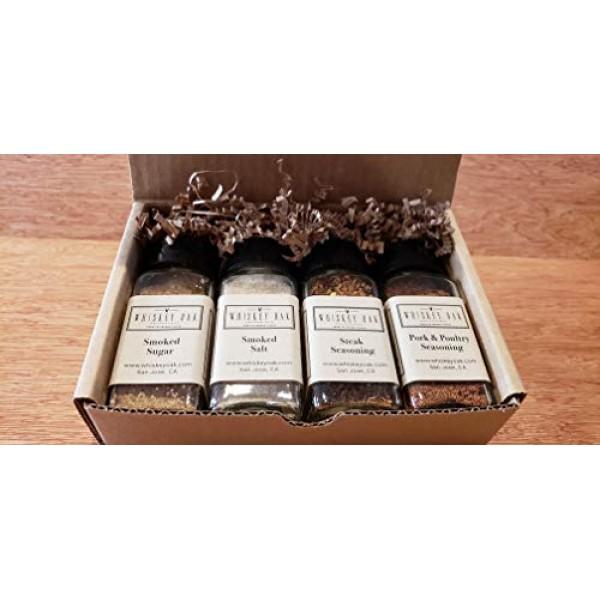 Whiskey Oak Seasonings 4-Jar Gift Box - 11.25 oz Smoked Salt, Sm...