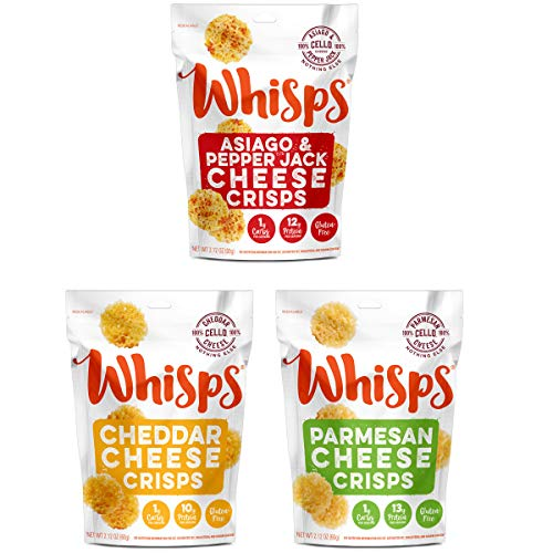 Whisps Cheese Crisps 3 Pack Assortment 2.12oz Cheddar, Parmesa...