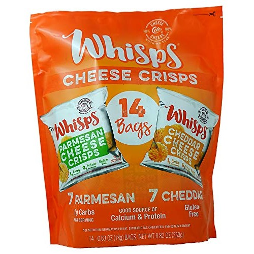 Cello Whisps Cheese Crisps - Parmesan & Cheddar Variety 14 pack,...